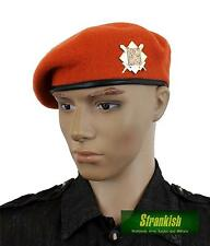 GENUINE CZECH ARMY BERET & BADGE 100% WOOL ORANGE