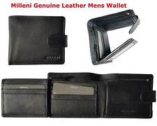 Milleni Mens Genuine Italian Leather Trifold Compact Wallet Brand New - C8875