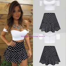 Sexy Strapless Short Sleeve Crop Tops & Polka Dot Skirt Contrast Colors Twinset