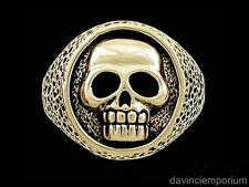 Pirate Skull Signet Ring in 14k Yellow or White Gold