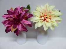 Artificial Potted Plants 23cm Large Dahlia Plant In A Pot Pink Yellow Flowers