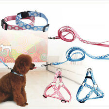 Dog Harness Leash Collar Set Pets Dog Cat Adjustable Nylon Harness Walking Leash