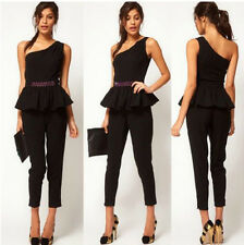 Hot Women's Sexy Black One Shoulder Jumpsuit Prom Peplum Playsuit Pants Trousers