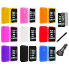 Swirl Silicone Rubber Gel Cover Case+LCD+Charger+Pen for iPhone 3G S 3GS