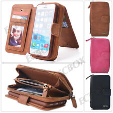 Genuine Leather Case Zipper Wallet Card Multifunction Handbag Cover For iPhone