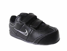 NEW TODDLERS NIKE ALEXANDER BLACK/METALLIC SILVER LEATHER TRAINERS UK SIZE 3