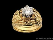 Nenya Galadriel Ring of Power with 2 Tracer Bands LOTR 10K Yellow Gold