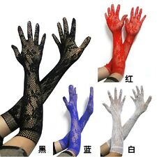 Cosplay Sexy Lolita Lace Fishnet Floral Long Gloves Wedding Party Bridal 5 Color
