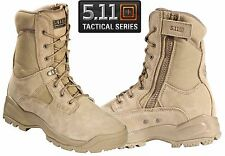 "5.11 Mens ATAC 8"" Coyote Tactical Boots - Tan Side Zip Field Duty Work Boot"