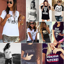 Womens Summer Short Sleeve Loose Casual T-shirt Letter Graphic Tee Tops Blouse