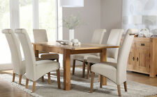 Portland & Richmond Extending Oak Dining Room Table and 4 6 Chairs Set (Cream)