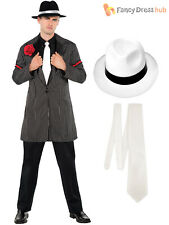 Mens 1920s Pinstripe Zoot Suit Costume Adults Gangster Fancy Dress Bugsy Malone