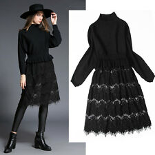 NEW Womens Dress Srping Trendy temperament Slim Lace Black Sweaters Long Sleeve