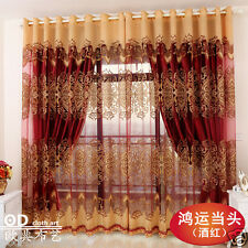 Customized window curtain bedroom sheer blackout lining beading decoration red