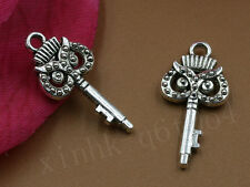 10~100X Tibet Silver Retro Style Lovely Owl Key Charms Pendant Jewelry 10X20MM