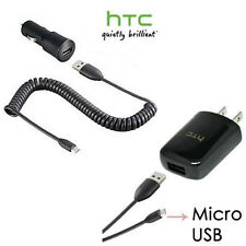 OEM HTC Wall Charger with Micro USB Data Cable + OEM HTC Car Auto Charger New