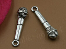 7~200pcs Tibetan Silver Fashion 3D Microphone Charm Pendant Crafts Free Shipping
