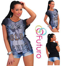 Party Sequined T-Shirt Same Old Chic Print Tunic Crew Neck Top Sizes 8-12 FB196