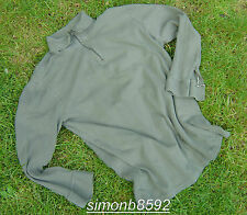 FRENCH ARMY SURPLUS ISSUE GREEN ZIP NECK 100% COTTON T-SHIRT LONG SLEEVE NORGIE
