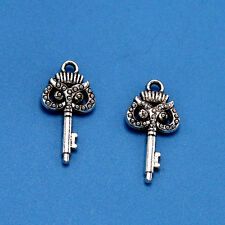 5/30/200pcs Lucky Tibet silver owl key charm pendant Jewelry Findings 21x10 mm