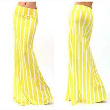 Summer Womens Printed Striped High Waist Bodycon Full Length Long Maxi Skirt