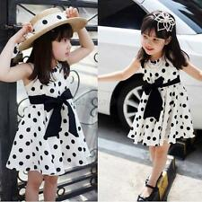 One-Piece Kids Girl Children Kid Clothing Polka Dot Chiffon Sundress Short Dress