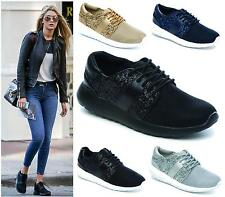 Womens Black Glitter Lace Up Canvas Trainers Ladies Sports Flats Pumps Size