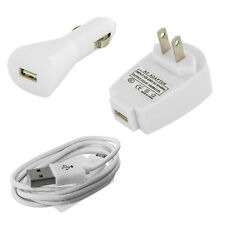 White Car Charger+Wall Home Travel Charger+Micro USB Cable for Cell Phones