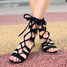 Womens Synthetic Leather Shoes Strap Thong Gladiator Flat Cute Strappy Sandals