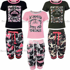Girls Top & Cropped Pants Sets T-Shirt + Capri Trousers Army Print Ages 3-12yr