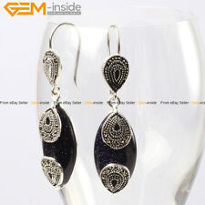 GEM-inside Fashion 14x32mm Marquise Beads Tibetan Silver Dangle Earrings 1 Pair