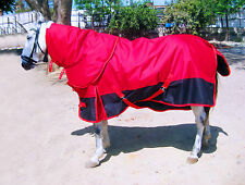 HEAVYWEIGHT 600 DENIER 350G FILL TURNOUT HORSE RUG , RED/ BLACK WITH NECK !!!