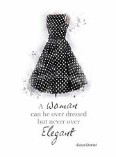 ART PRINT Audrey Hepburn Black Swing Dress, Coco Chanel Quote, Fashion, Wall Art