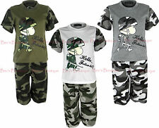 Boys Shorts Top 2 Piece Summer Sets Army Camouflage Print Kids Clothes Ages 2-10