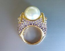 Pink Crystal and Faux Pearl Ring  Size 6, 7, 8, 9