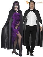 Adults Black Hooded Vampire Cape Mens Ladies Halloween Fancy Dress Accessory