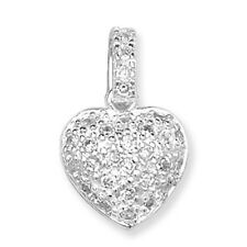 Unique Wishlist Sterling Silver Clear Cubic Zirconia Heart Pendant SP783B