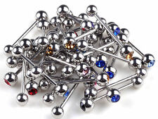 10/50/100pc Stainless Steel Ball Tongue Bars Rings Barbell Piercing Body Jewelry