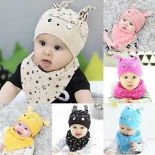 Cute Infant Kids Child Baby Cartoon Hat Cap+Saliva Towel Bib Accessories Set