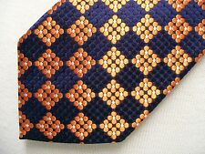 Hugo Boss navy and orange brocade silk tie Italy