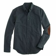 Mens J CREW HEATHERED CHAMOIS ELBOW-PATCH SHIRT - Heather Charcoal - XS - NWT