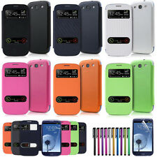 For Samsung Galaxy S3 III i9300 Slim Leather Flip View Window Smart Case Cover