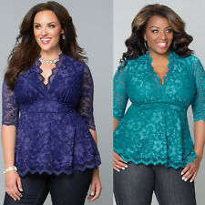 Plus Size Sexy Womens Lace Perspective Shirts V-neck Short Sleeve Top Blouse New