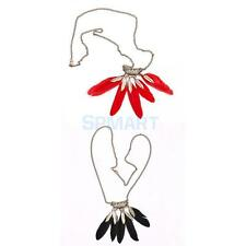 Fashion Charm Hollow Metal Leaves Feather Pendant Long Chain Necklace Jewelry