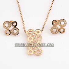 A1-S004 Fashion CZ Circle Rings Earrings Necklace Jewelry Set 18KGP Crystal