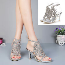 Chic Silver Rhinestone Bride High Heels Women Prom Wedding Platform Sandal Shoes