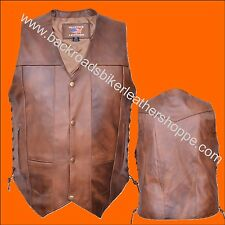Mens Brown Leather Motorcycle Vest Side Laces 10 Ten Pockets Sizes 40-60