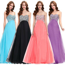 Beaded Strapless Long Sexy Formal Evening Gown Chiffon Prom Party Cocktail Dress