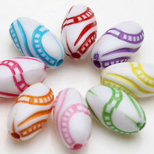 New Stylish 20/40X Mixed Acrylic Oval Loose Spacer Beads Charms Findings 13x7mm