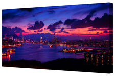 Vivid Coastal City Red Blue Panoramic Harbour LARGE Framed Canvas Wall Art Print